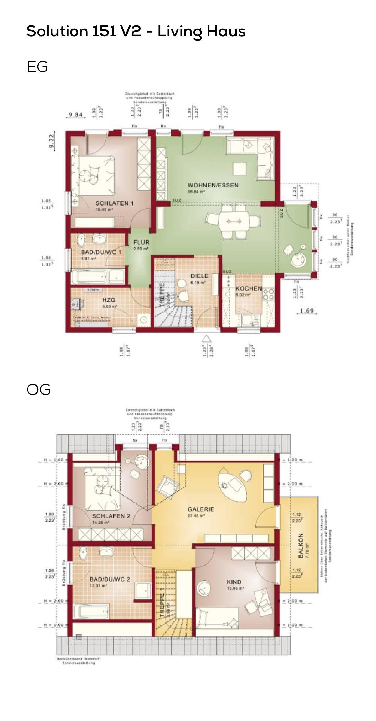Grundriss Einfamilienhaus mit Galerie 5 Zimmer