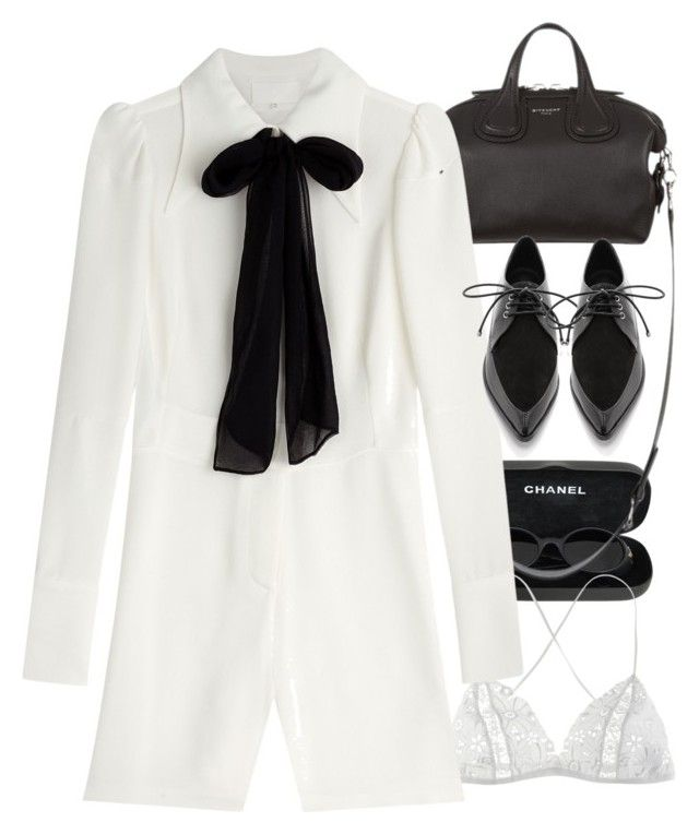 """""""Inspired by Bianca Jagger."""" by nikka-phillips ❤ liked on Polyvore featuring Chanel, Givenchy, Fleur of England, Maison Margiela and TIBI"""