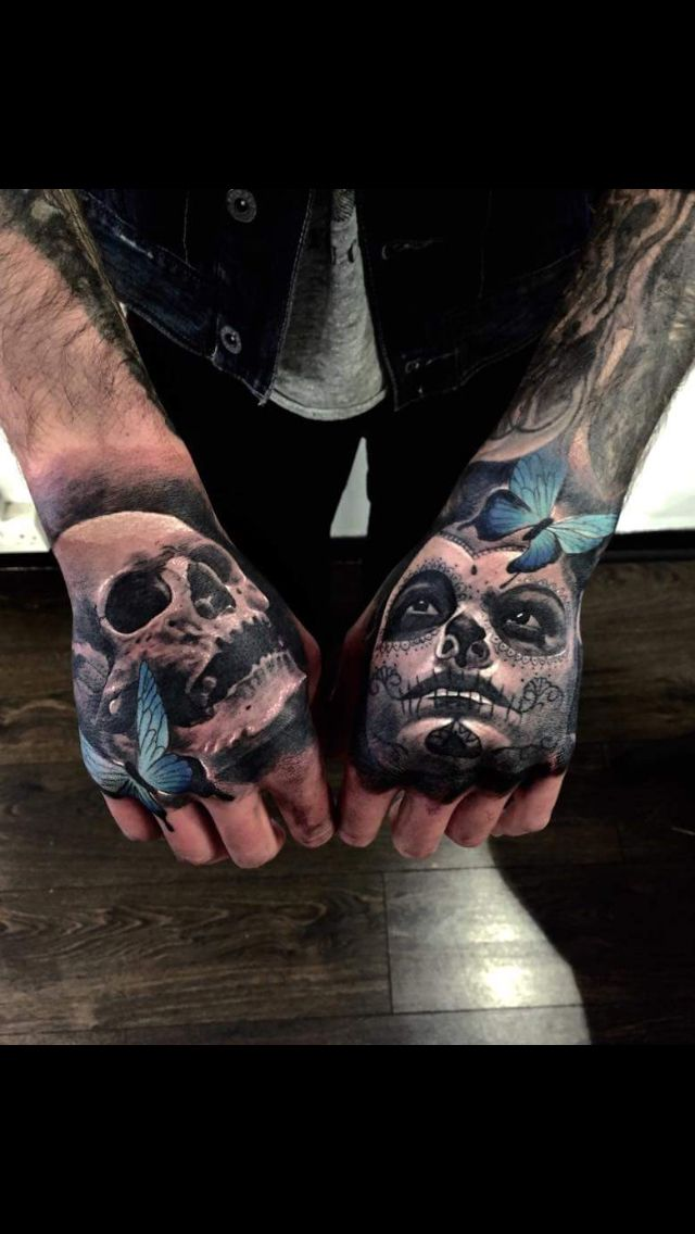 Day Of The Dead Hand Tattoo: Hand Tattoo Realism Skull Day Of The Dead