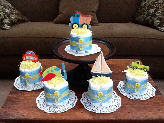 Baby Shower Favors Diapers ~ Transportation theme cars trucks planes diaper cakes baby shower
