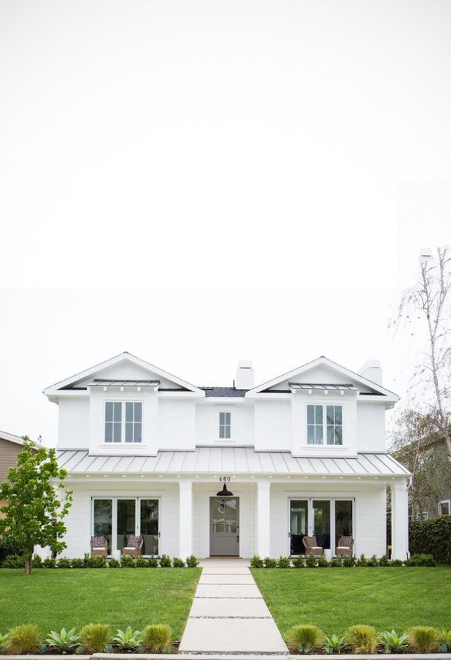 All White Coastal Home With A Gorgeous Grey Door