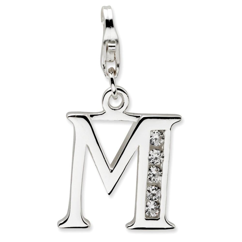 Beautiful Sterling silver 925 sterling Sterling Silver CZ Letter A w//Lobster Clasp Charm