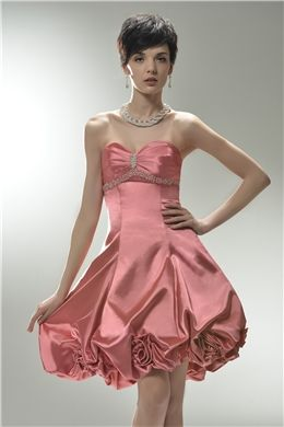 Elastic Woven Satin Sweetheart Strapless Beaded under Bust with A line Skirt Short Prom Dress