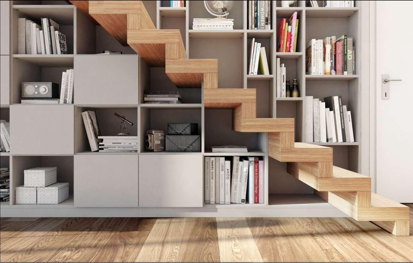 Placard Sur Mesure Montpellier bibliothèque sous escalier compartiment bois et létal de