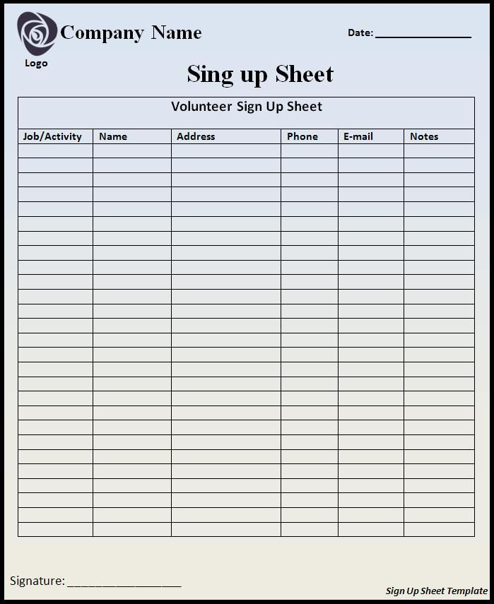 Signing In Sheet Template