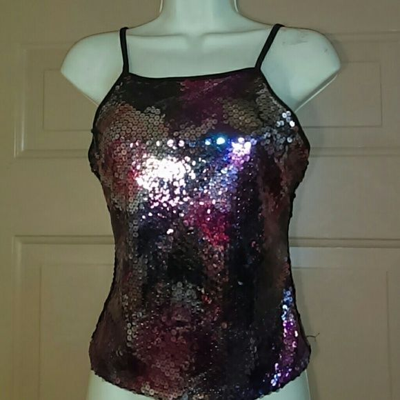 EXPRESS SEQUINED TOP-SIZE S-NWOT-CUTE!!! -Express Sequined Top -Size Small -Never worn -Built in bra -Hook & Eye fasteners down the middle of back -100% Polyester -REALLY CUTE!! Express Tops