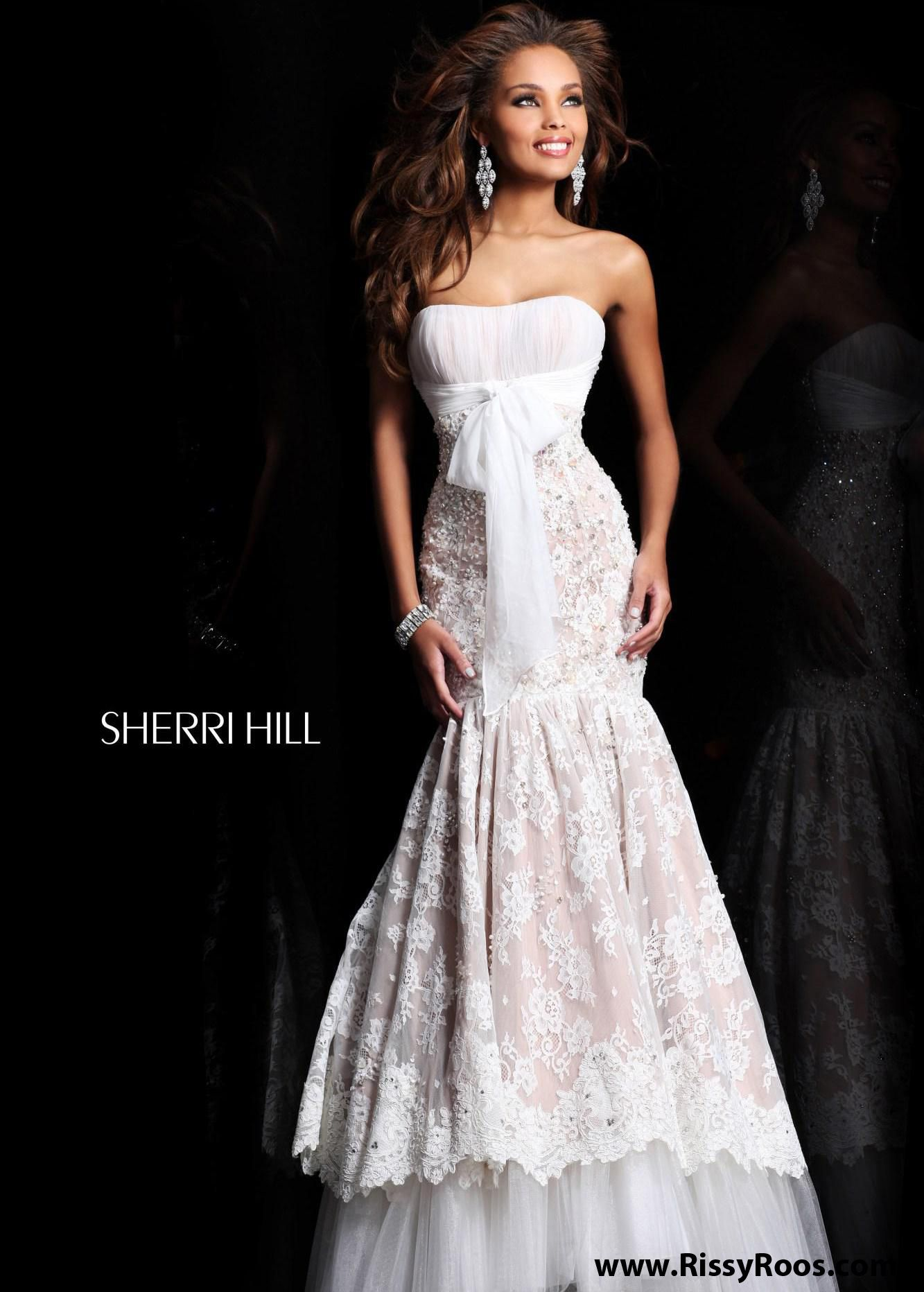 Sherri hill ivory lace mermaid prom dresses available now at