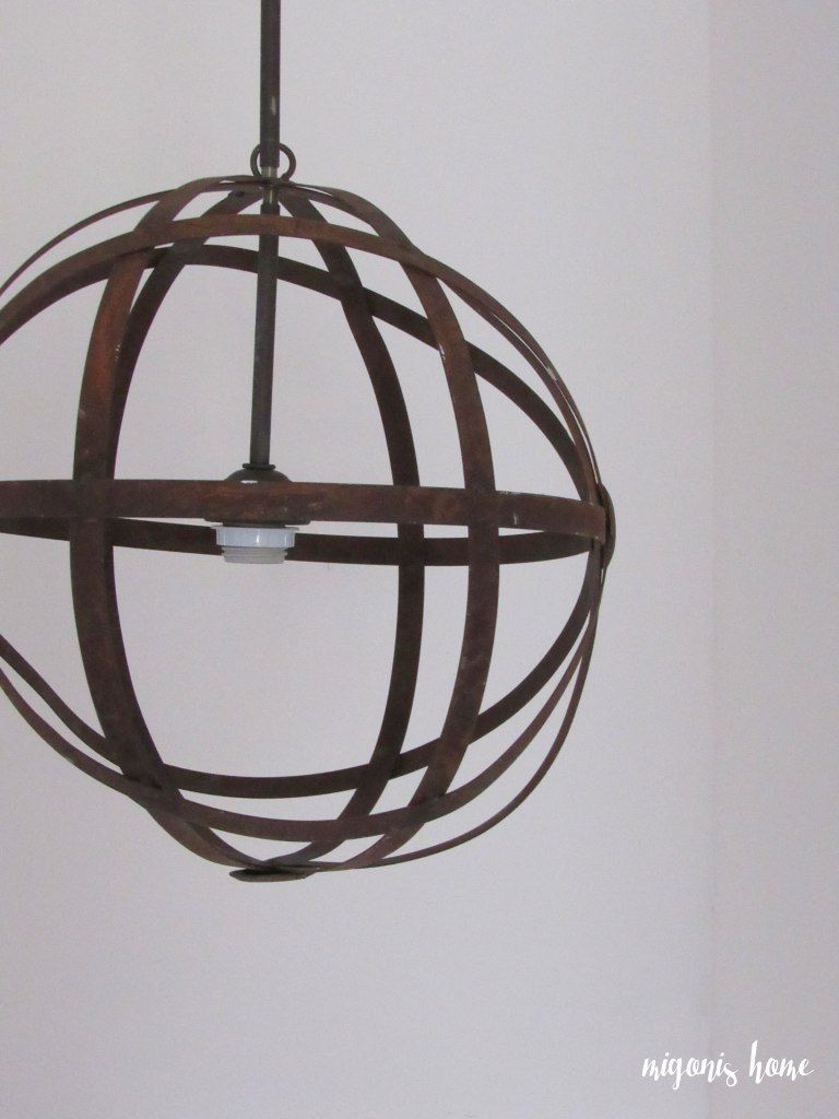Diy Orb Light Fixture Made With A 25 Metal From Home Goods And Pendant Kit