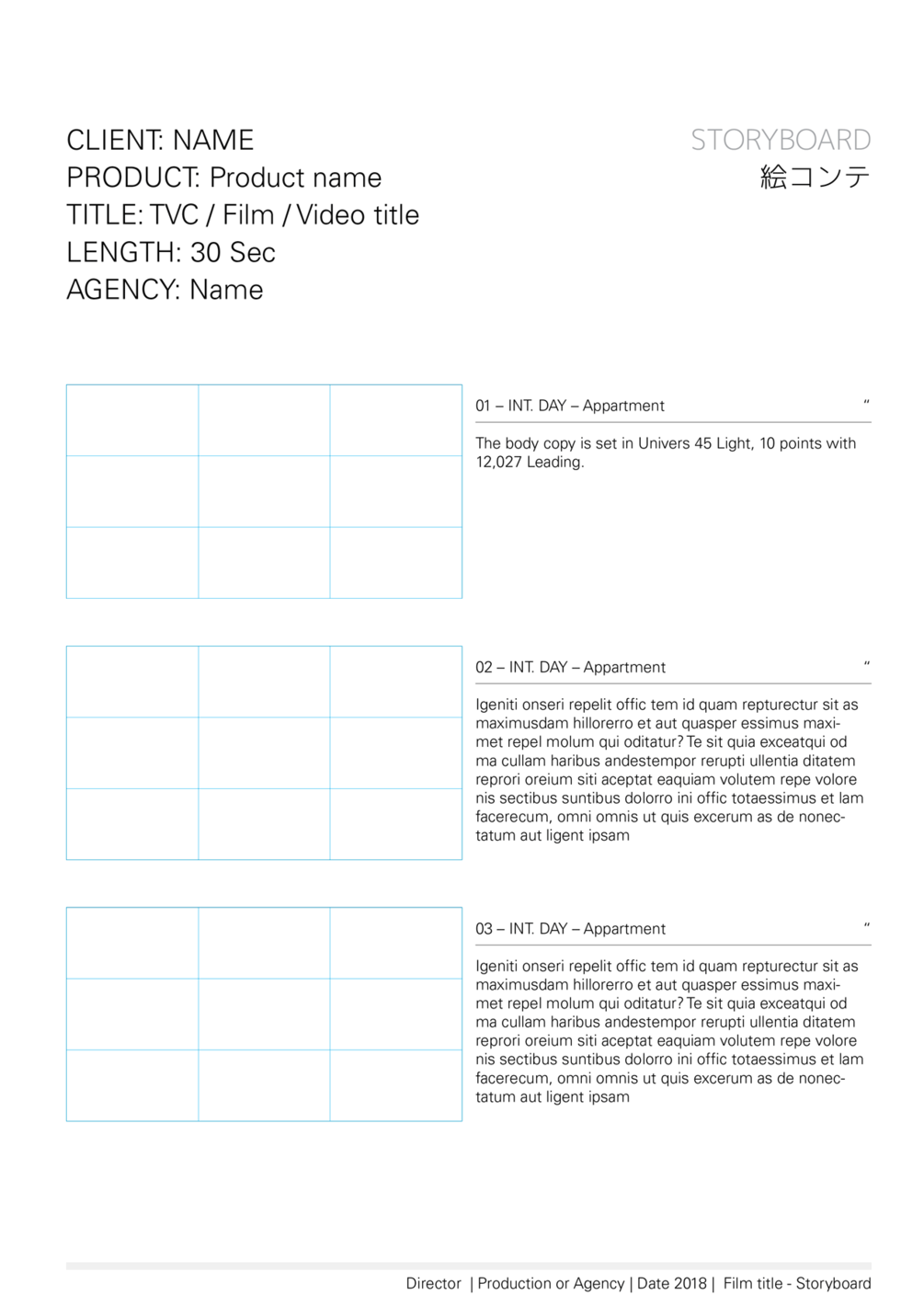 Free Storyboard Template For 1851 Ratio Widescreen Editable With Adobe InDesign Markup IDML Format