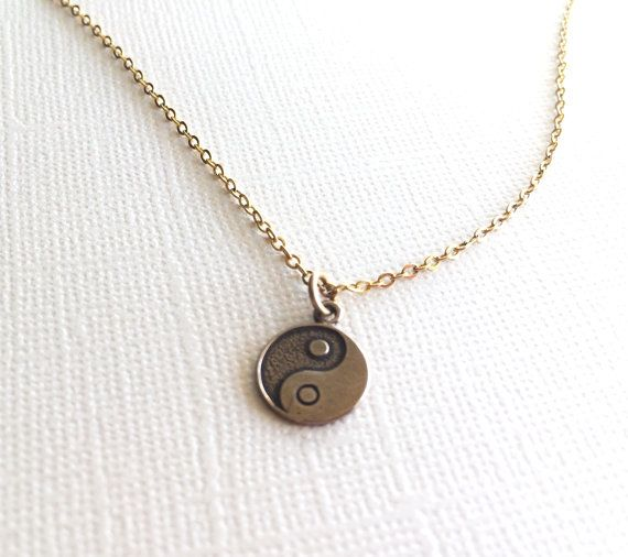 Yin-Yang Necklace in Bronze on Etsy, $12.00