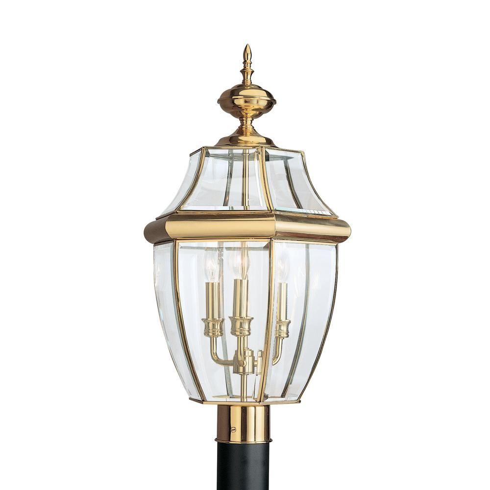 Sea Gull Lighting Lancaster 3 Light Outdoor Polished Brass Post Light With Dimmable Candelabra Led Bulb 8239en 02 Outdoor Post Lights Lamp Post Lights Lantern Post
