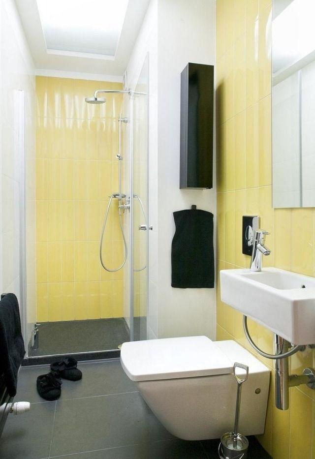 kleines badezimmer gestalten glasdusche farben ideen gelbe fliesen schwarze akzente bad
