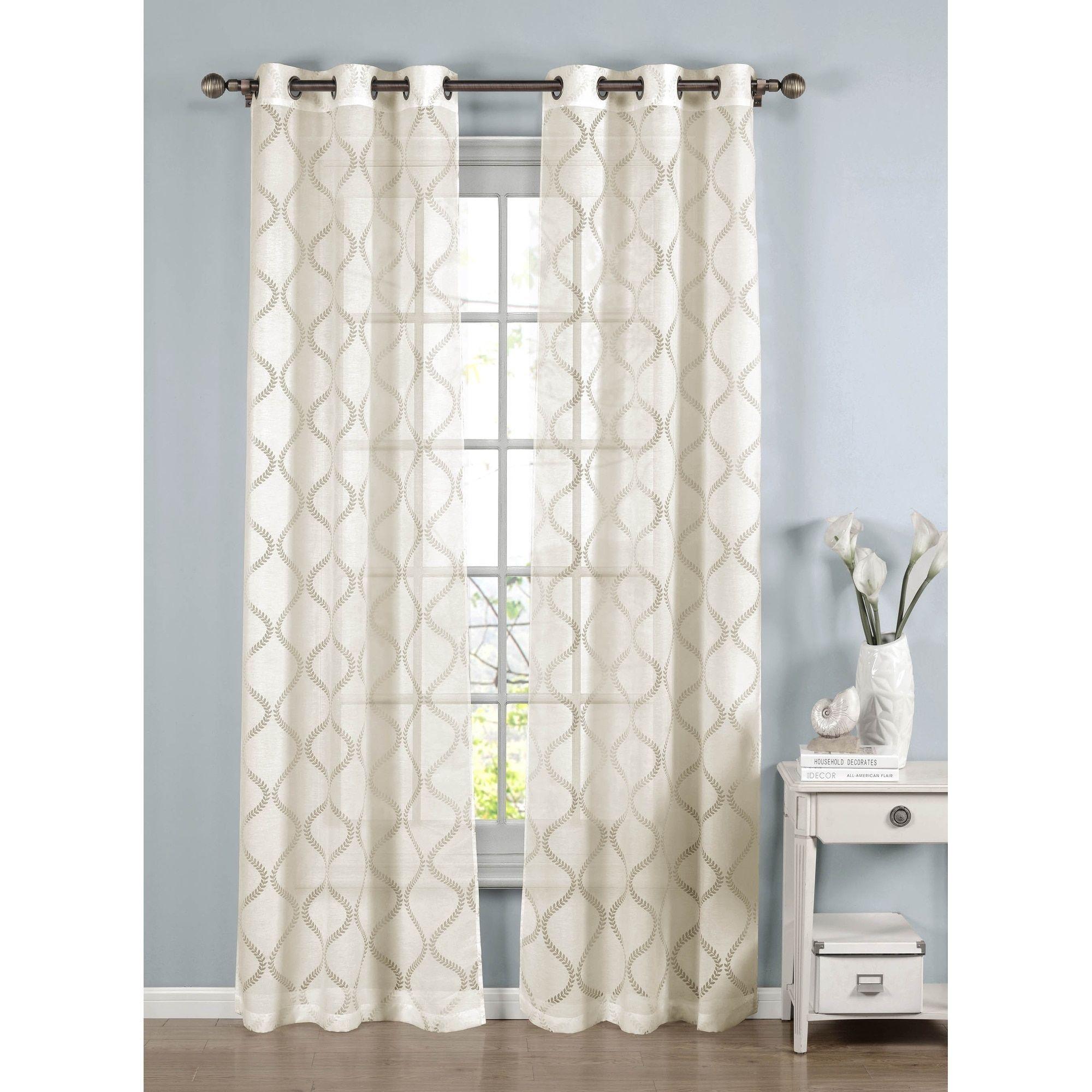 Window elements lisse cotton blend burnout sheer inch grommet