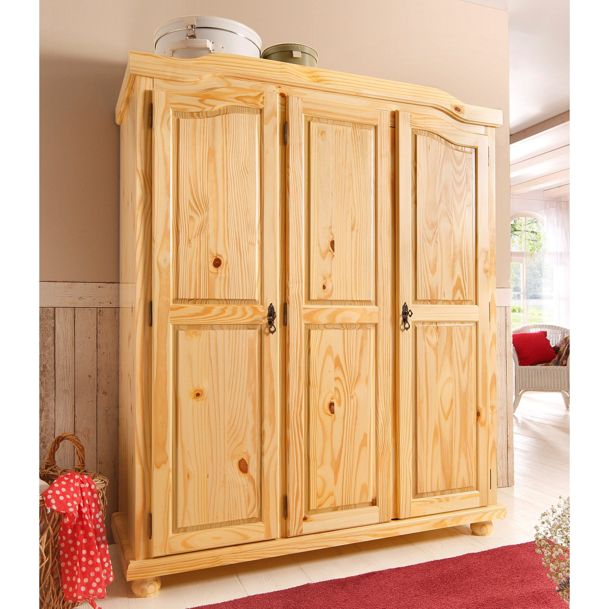 Armoire Penderie 3 Portes En Pin Massif Largeur 150 Cm Home  # Authentic Style Pin Teinte Miel
