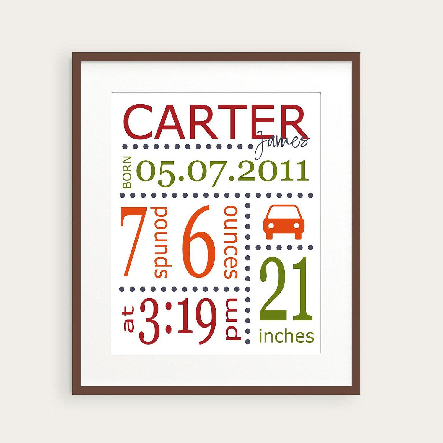 Personalized Boy's Nursery Art Print, Car, You Choose Colors & Birth Statistics, Birth Details, Nursery Decor, Baby Gift. $16.00, via Etsy.