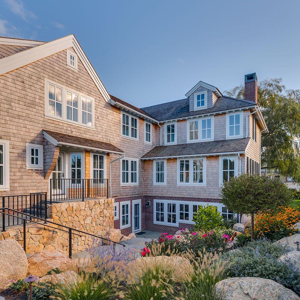 Shingle Garden Designs: Shingle Farmhouse Exterior & Landscape Design. Custom