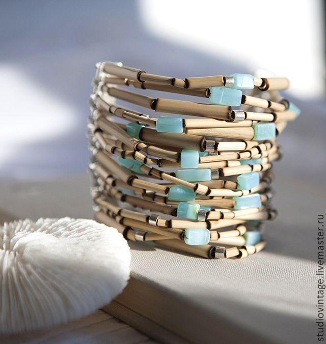 Купить Браслет Caribbean - голубой, бирюзовый, перуанский опал, браслет, летний браслет, стильный браслет
