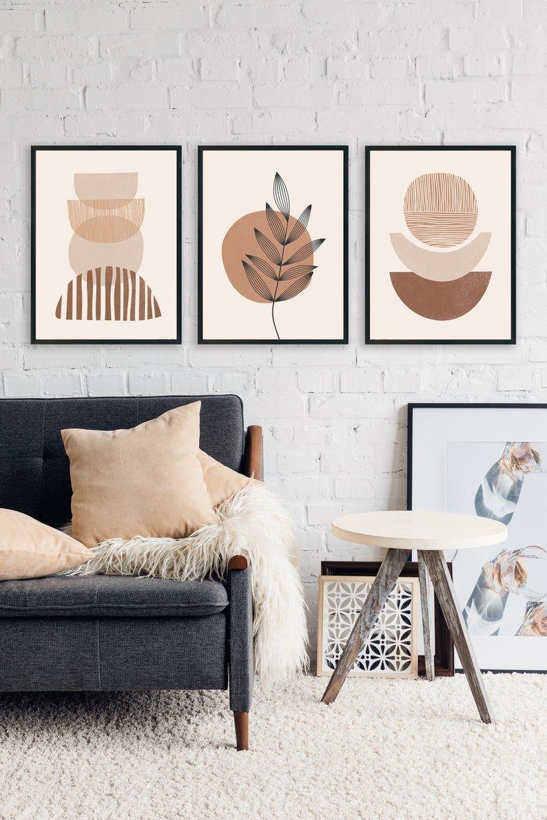 Boho Art Set of 3 Prints, Boho Wall Art, Abstract Gallery Wall Set, Printable Modern Art Poster Bundle, Minimal Botanical Print, Boho Print