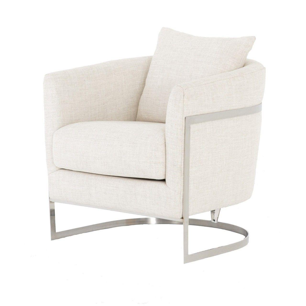 Liam Modern Cream Curved Club Chair Decoracion De Unas