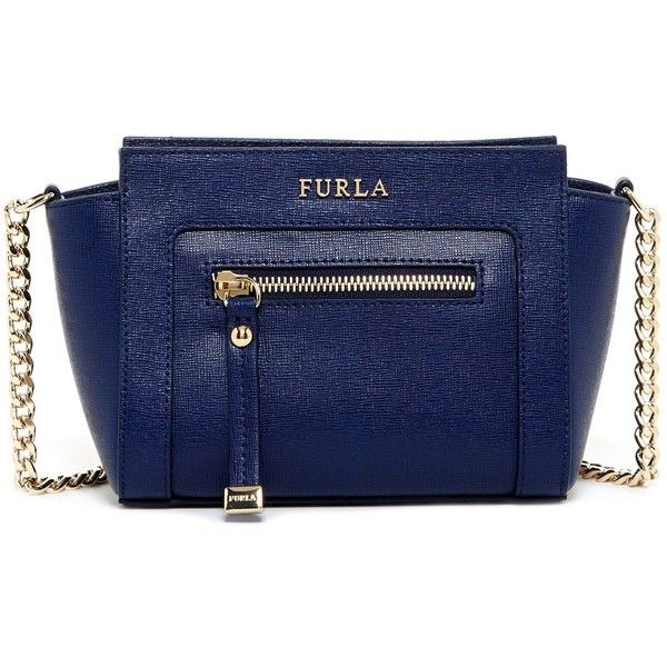 Furla Ginervra Leather Mini Crossbody (€140) ❤ liked on Polyvore featuring bags, handbags, shoulder bags, navy, leather crossbody purse, blue leather shoulder bag, navy blue handbags, leather shoulder bag and leather crossbody