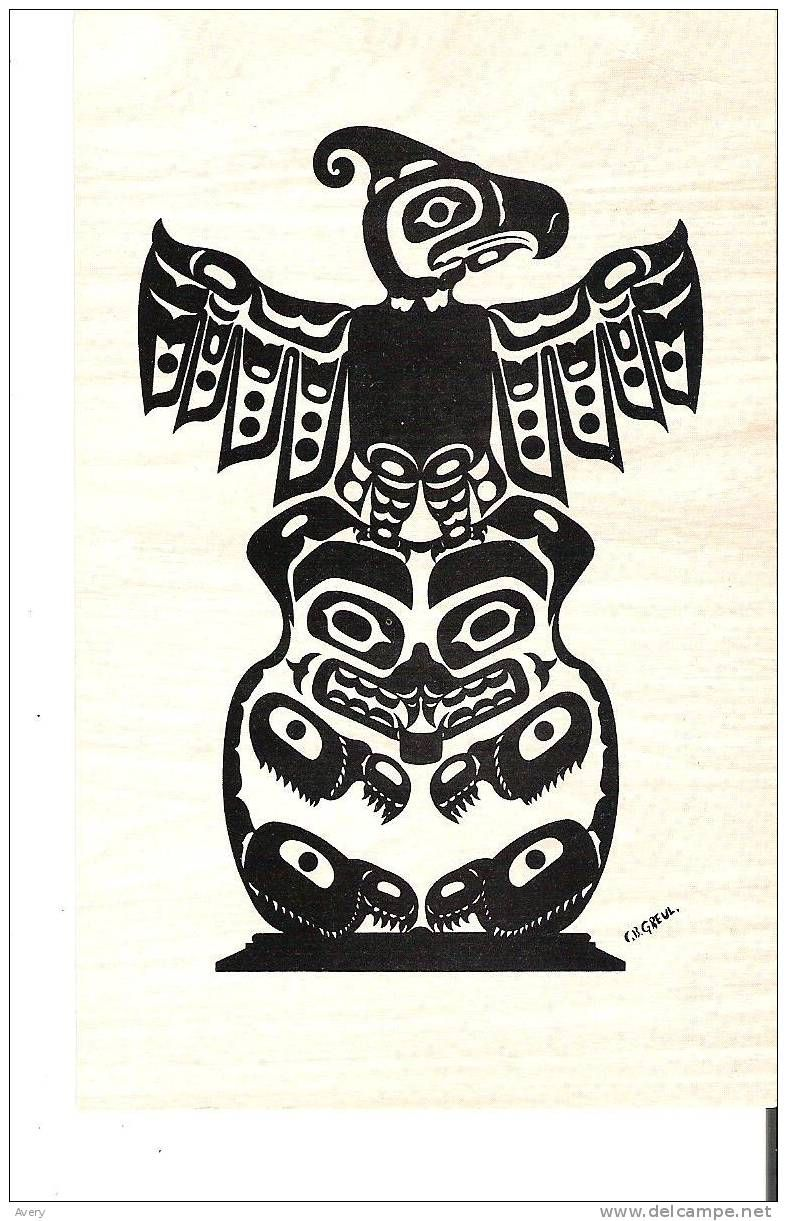 Pacific Northwest Coast Indian Totem Pole Eagle Over Grizzly Bear Glue On Back Colle