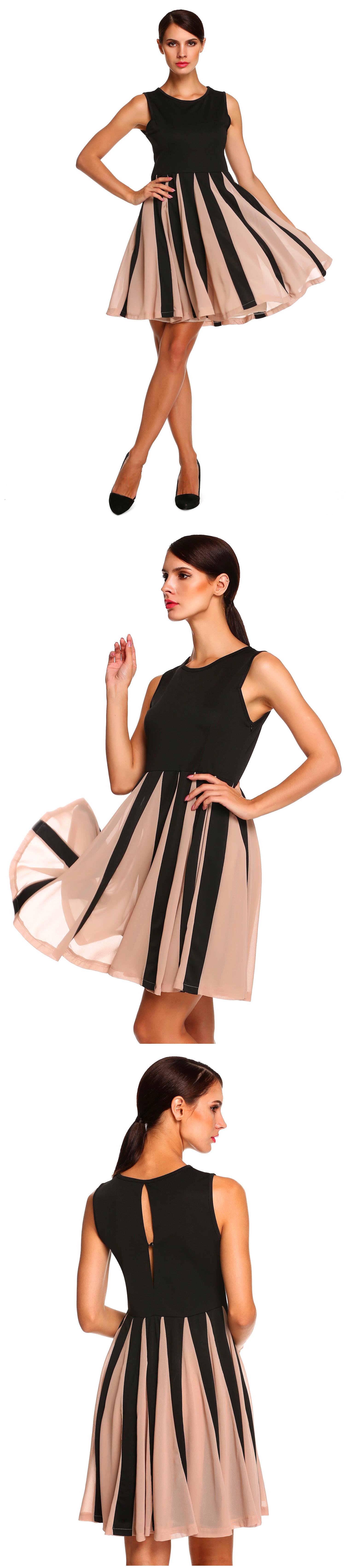 New Stylish Ladies Women Elegant Sleeveless Round Neck Solid Pleated Dressc    $12.86