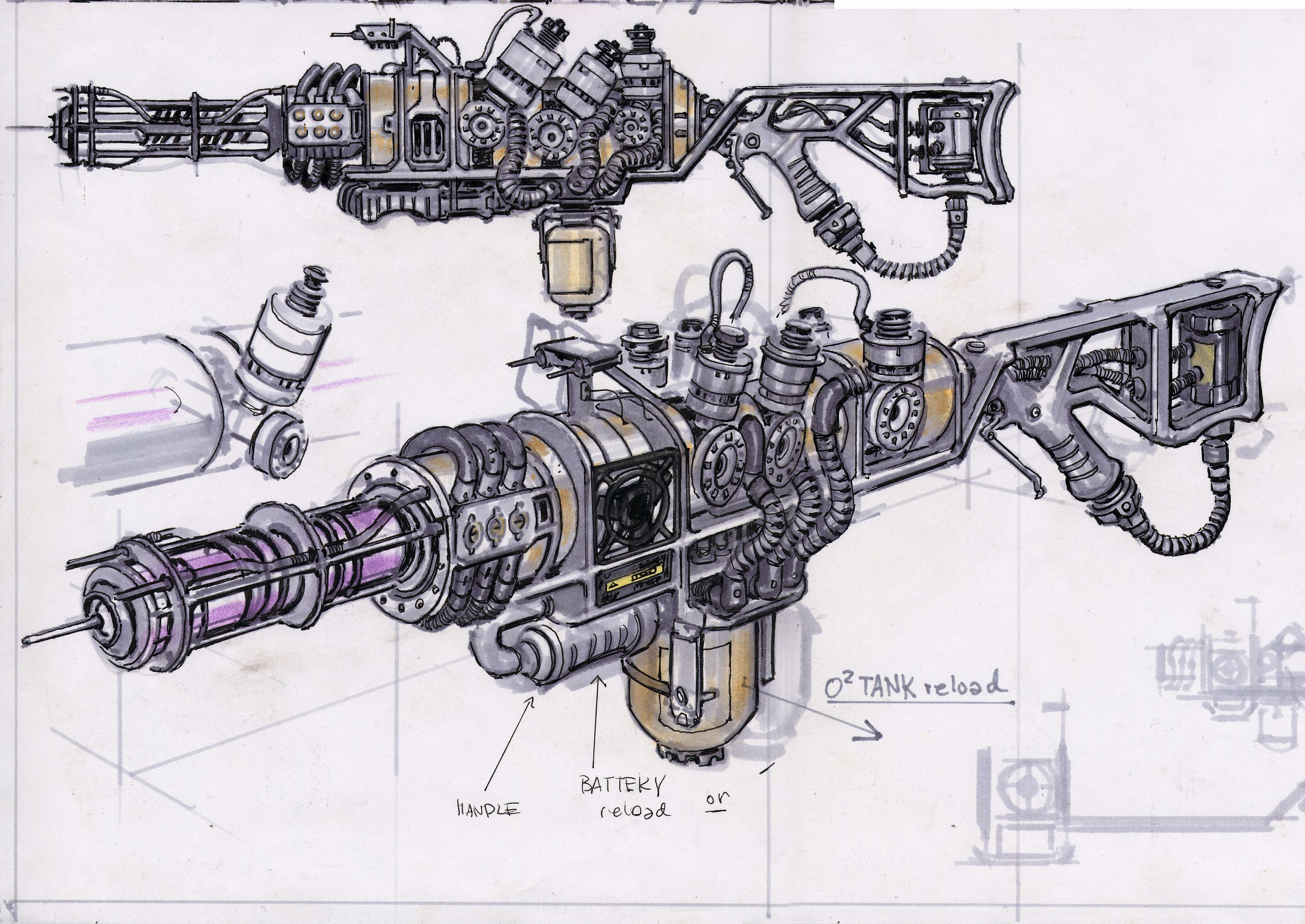 Schematics Plasma Rifle | Fallout | Fallout 3, Fallout concept art on