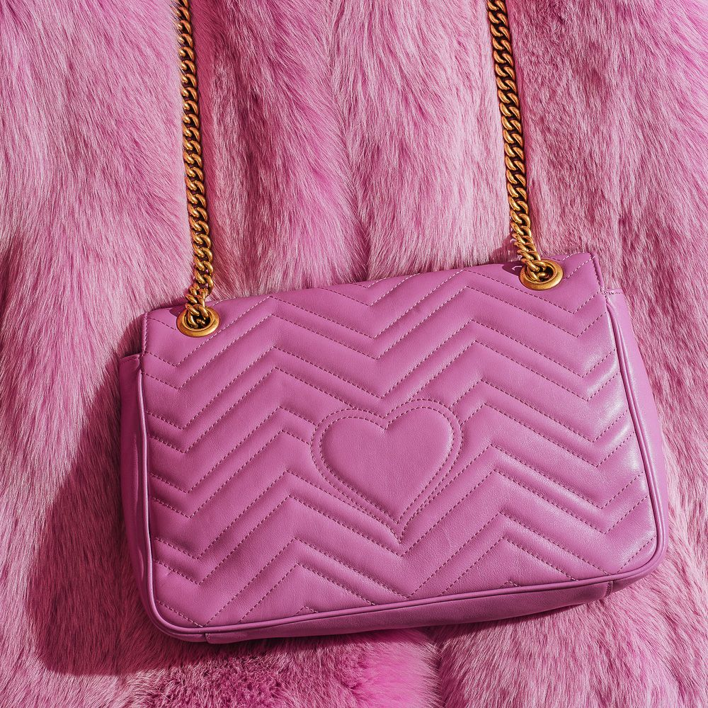 1840d891b Gucci Pink GG Marmont Matelasse Shoulder Bag - Hearts Detail ...
