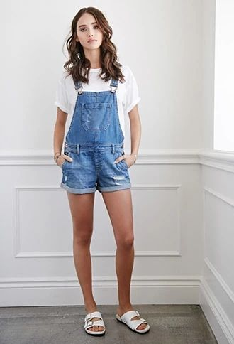 3681d362208 Distressed Denim Overall Shorts