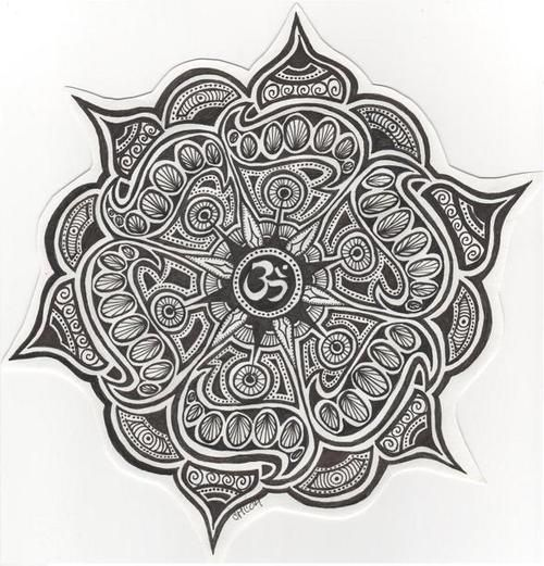 Mandala with Om. This would make a perfect tattoo- maybe when I'm ready I could get this on my shoulder and let Kevin put his spin on it