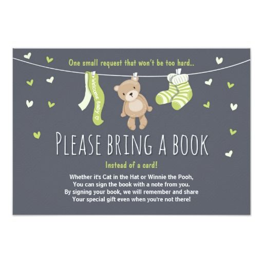 baby shower bring a book card teddy bear   babies, bears and book, Baby shower invitations