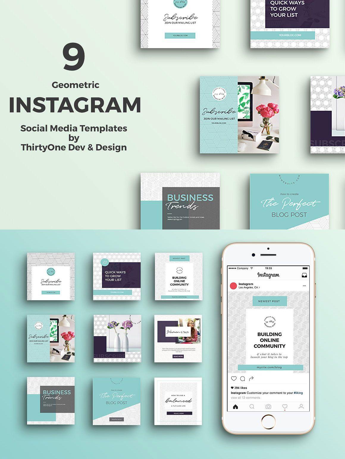 Geometric instagram templates instagram template social