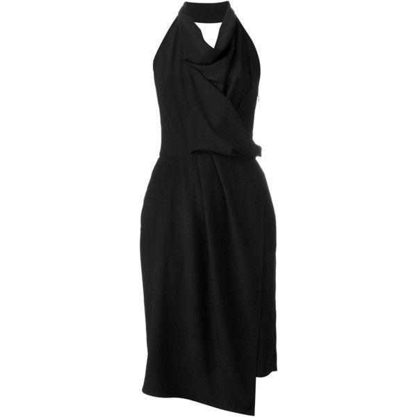 Carven Draped Halterneck Dress (690 CAD) ❤ liked on Polyvore featuring dresses, black, halter neckline dress, black dress, halter dress, black halter dress and halterneck dress