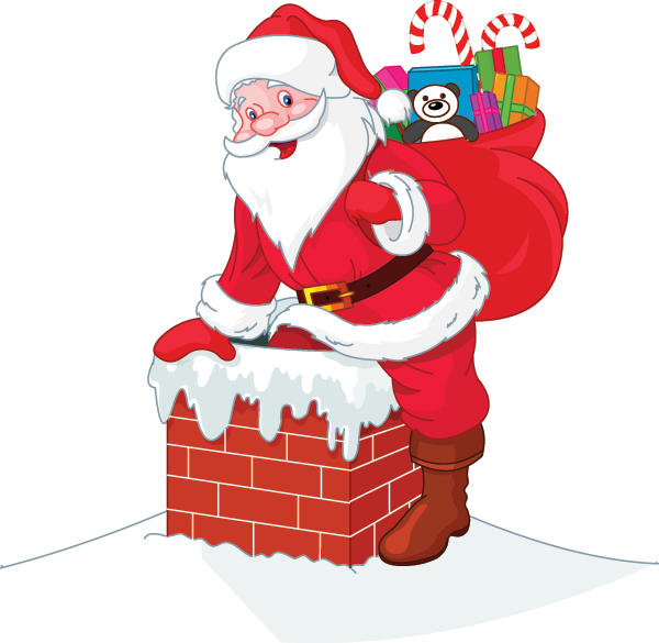 Down The Chimney Christmas Cartoon Pictures Xmas Clip Art Santa Claus Pictures