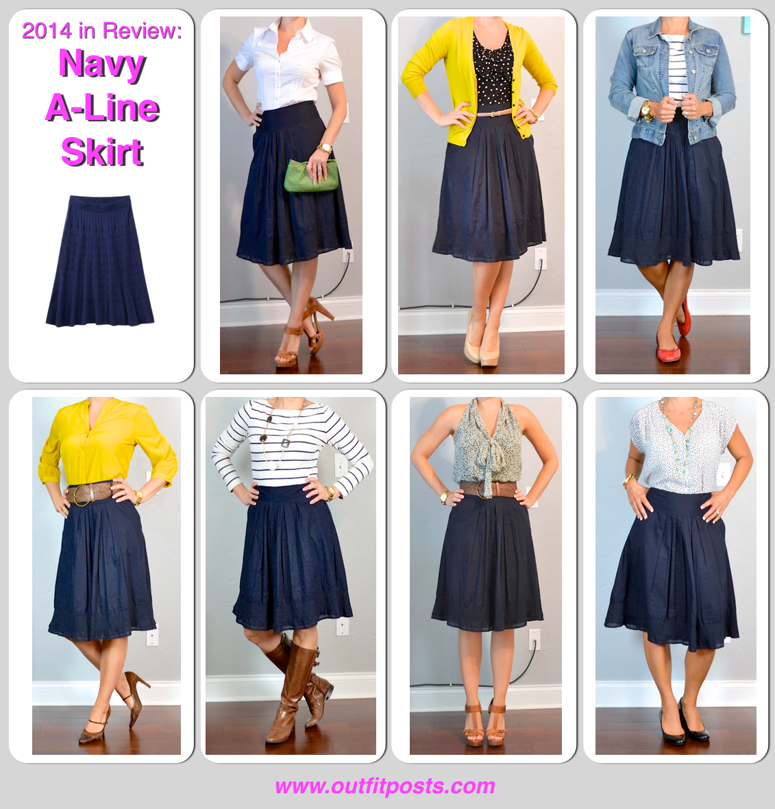 5 in review - outfit posts: navy a-line skirt - 5 ways  A line