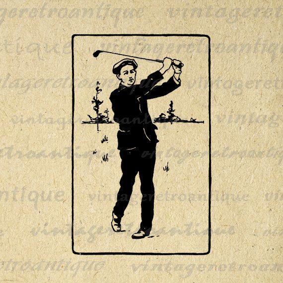 Digital Printable Golf Download Golfer Graphic Illustration Image Vintage