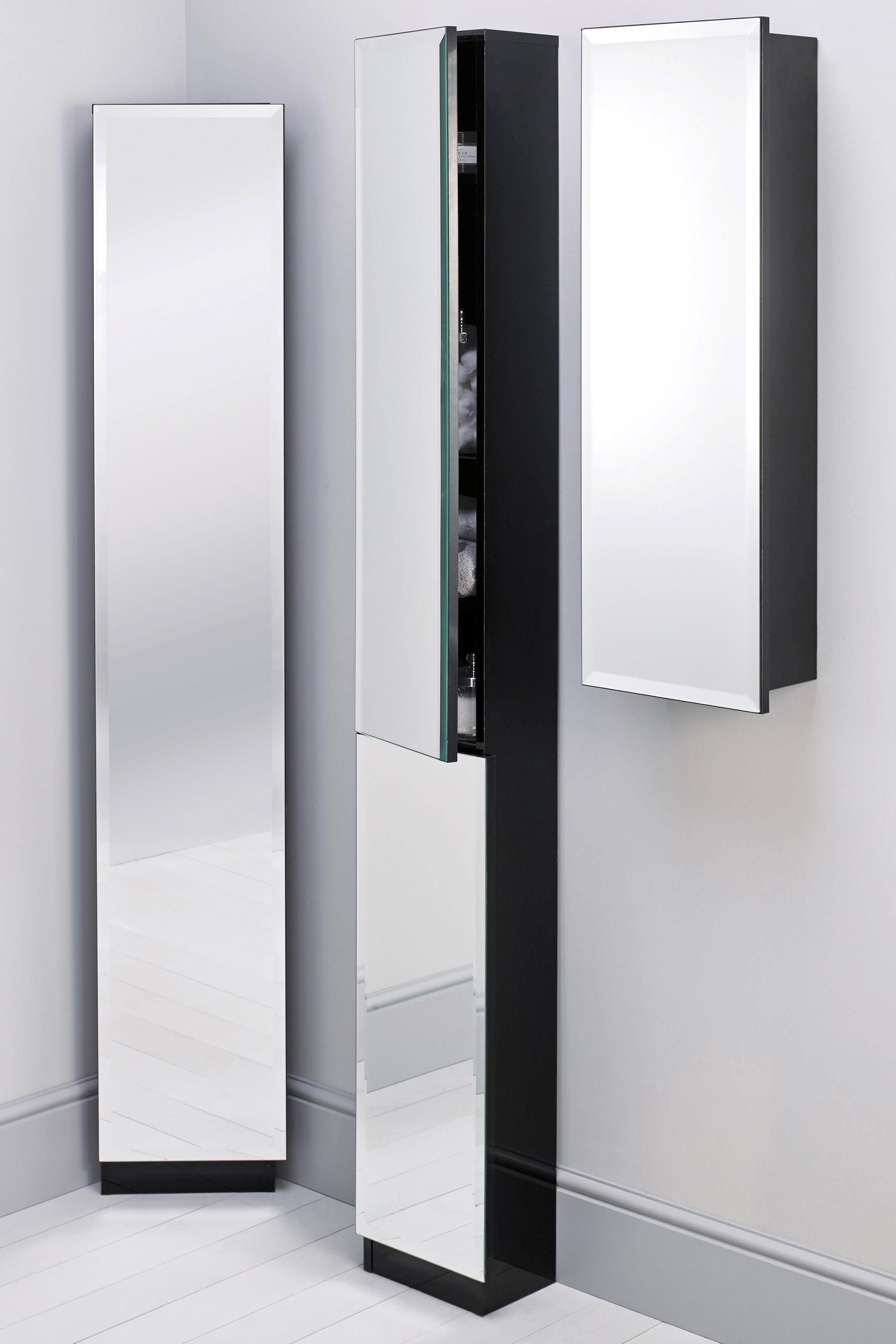 Black Wooden Cabinet With Glass On The Door Of Corner Cabinet For Your Bathroom A Beauty To Save Space