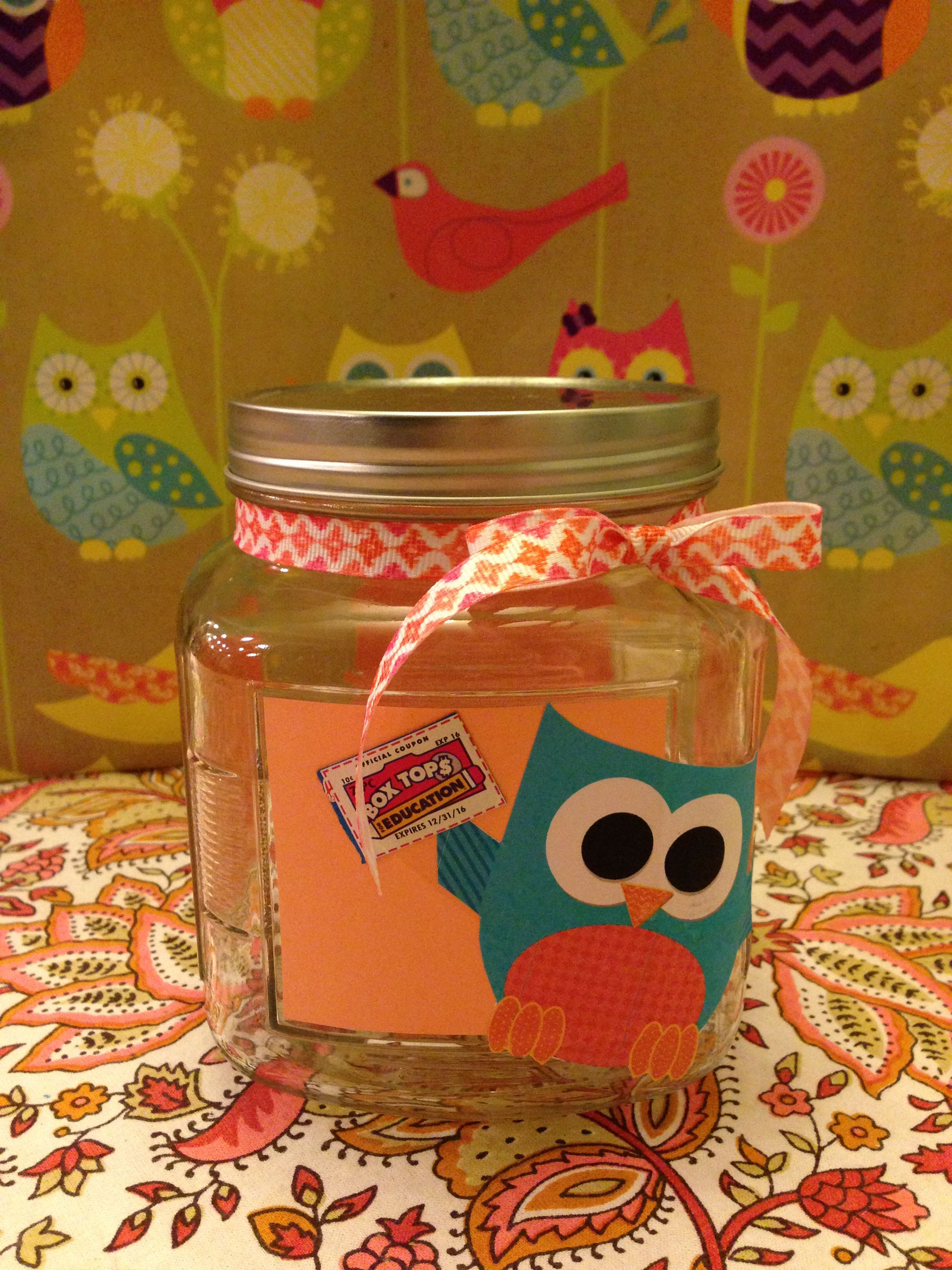 Owl theme classroom box tops jar!