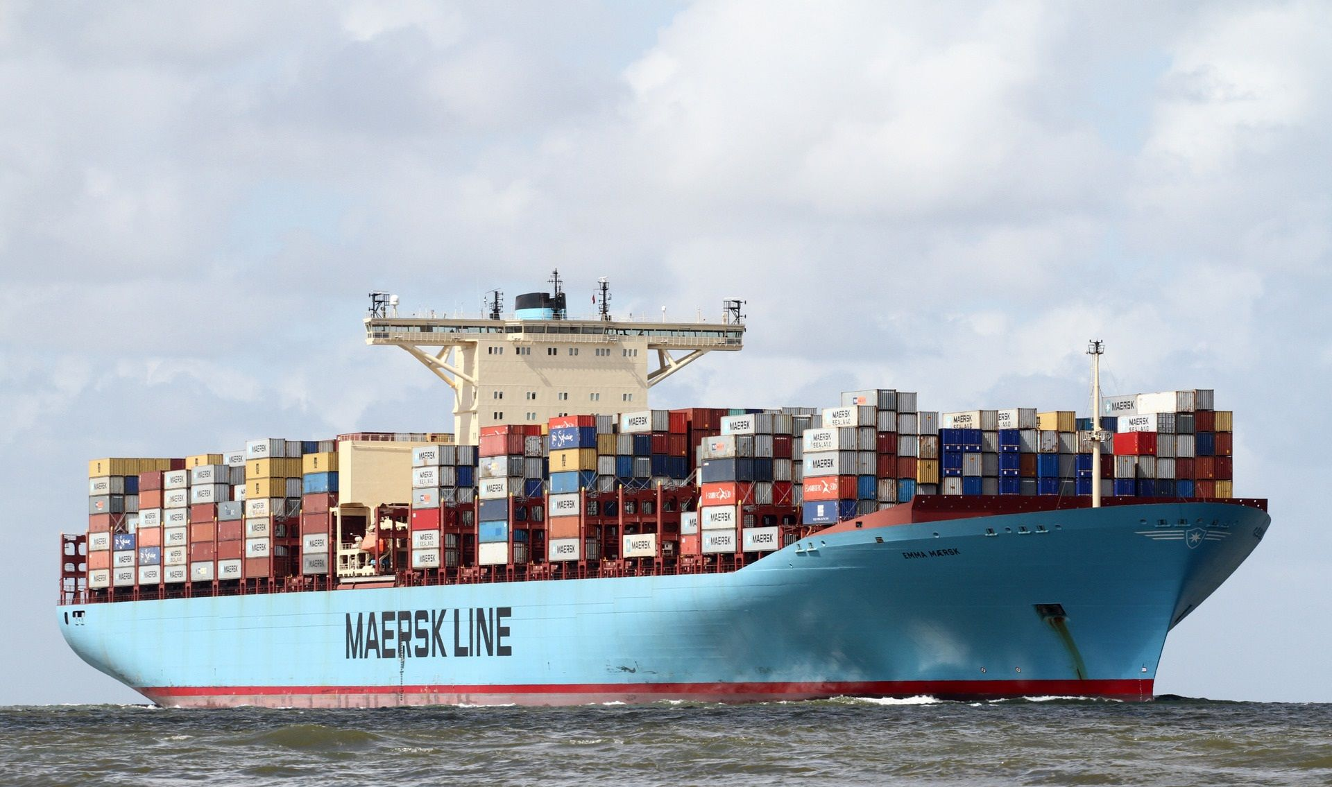 Largest Container Ship Emma Maersk Departing Maersk Line Large Containers Ship