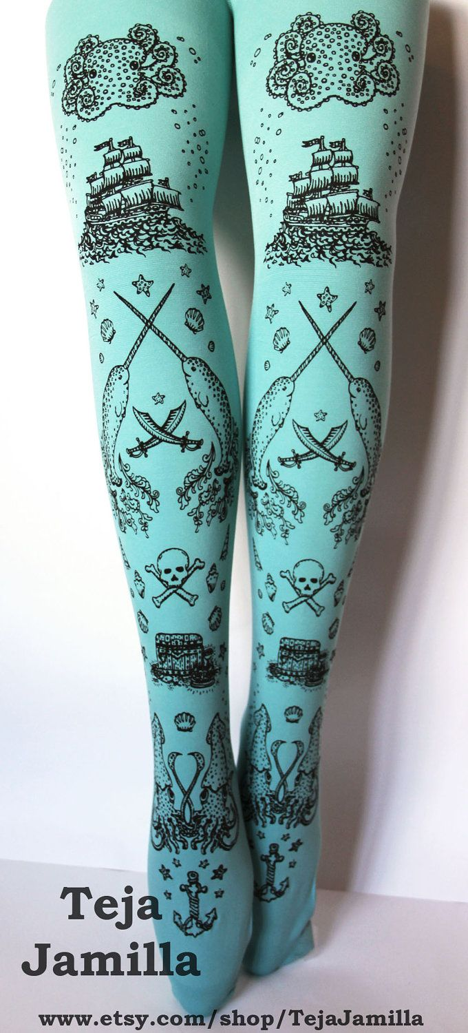 696ae017993d6 Pirate Printed Narwhal Tights Small Black Pearl on Duck Egg Blue ...