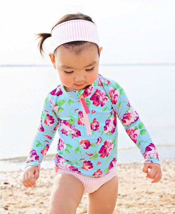 dd648ba4ce Life is Rosy Long Sleeve Zipper Rash Guard Bikini - RuffleButts.com