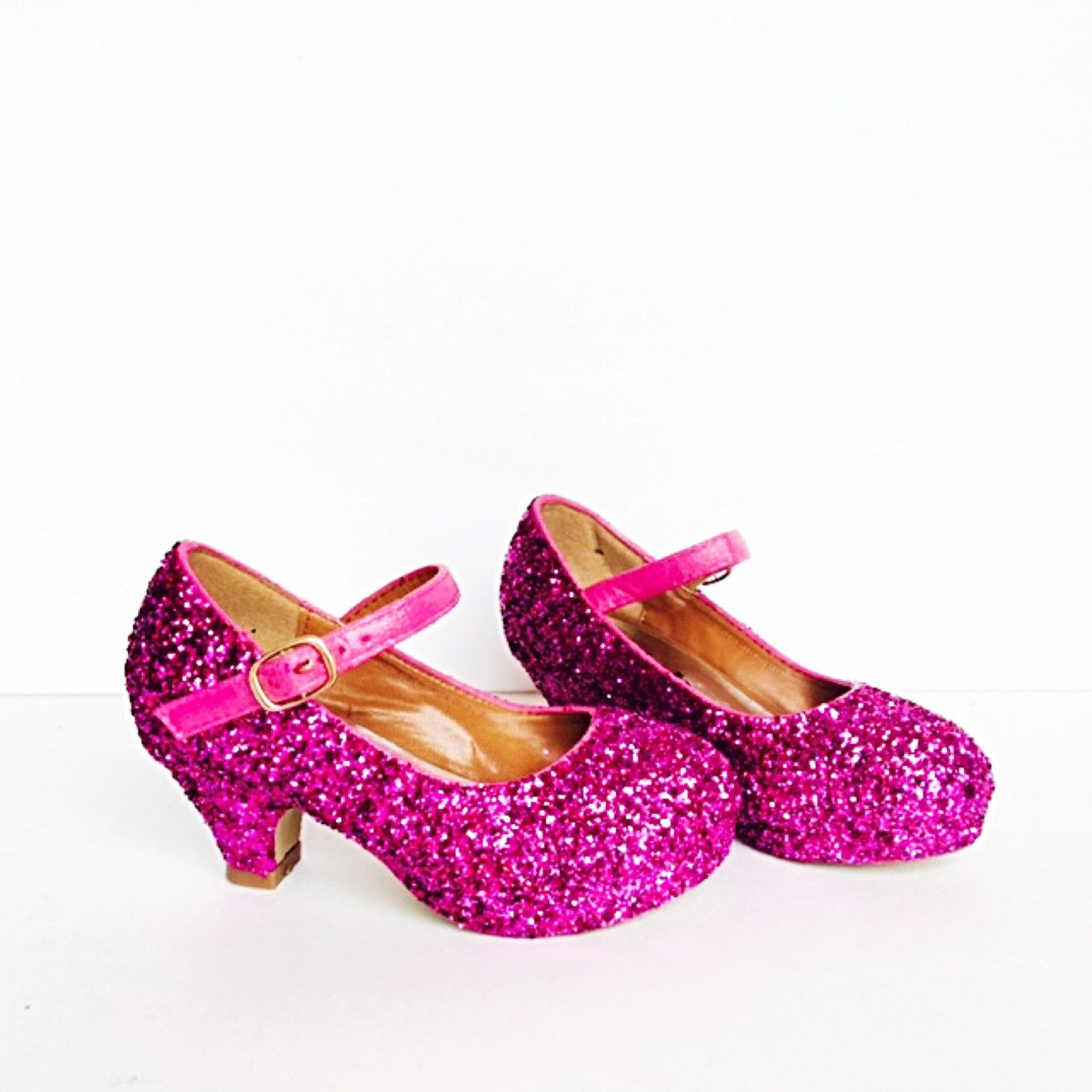 timeless design 6ed91 ddb87 Toddler Glitter Shoes - Pink Toddler Girls Heel - Magenta Hot Fushia Pink  Heel - Glitzy
