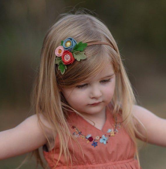 Felt floral baby toddler girls headband, Poppy Cluster Headband, Felt flower crown headband, Chambra #crownheadband