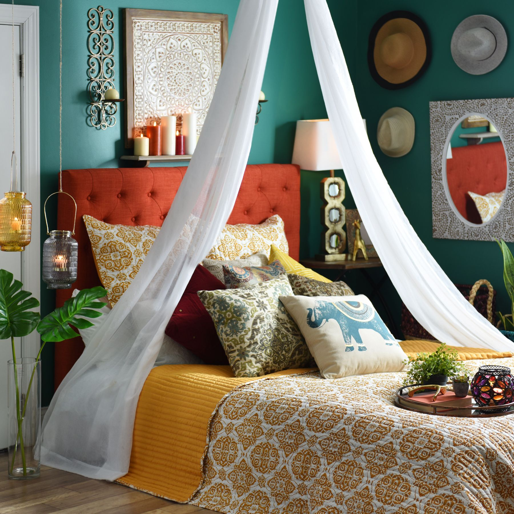 Bring boho chic into your bedroom with vibrant colors, exotic ...