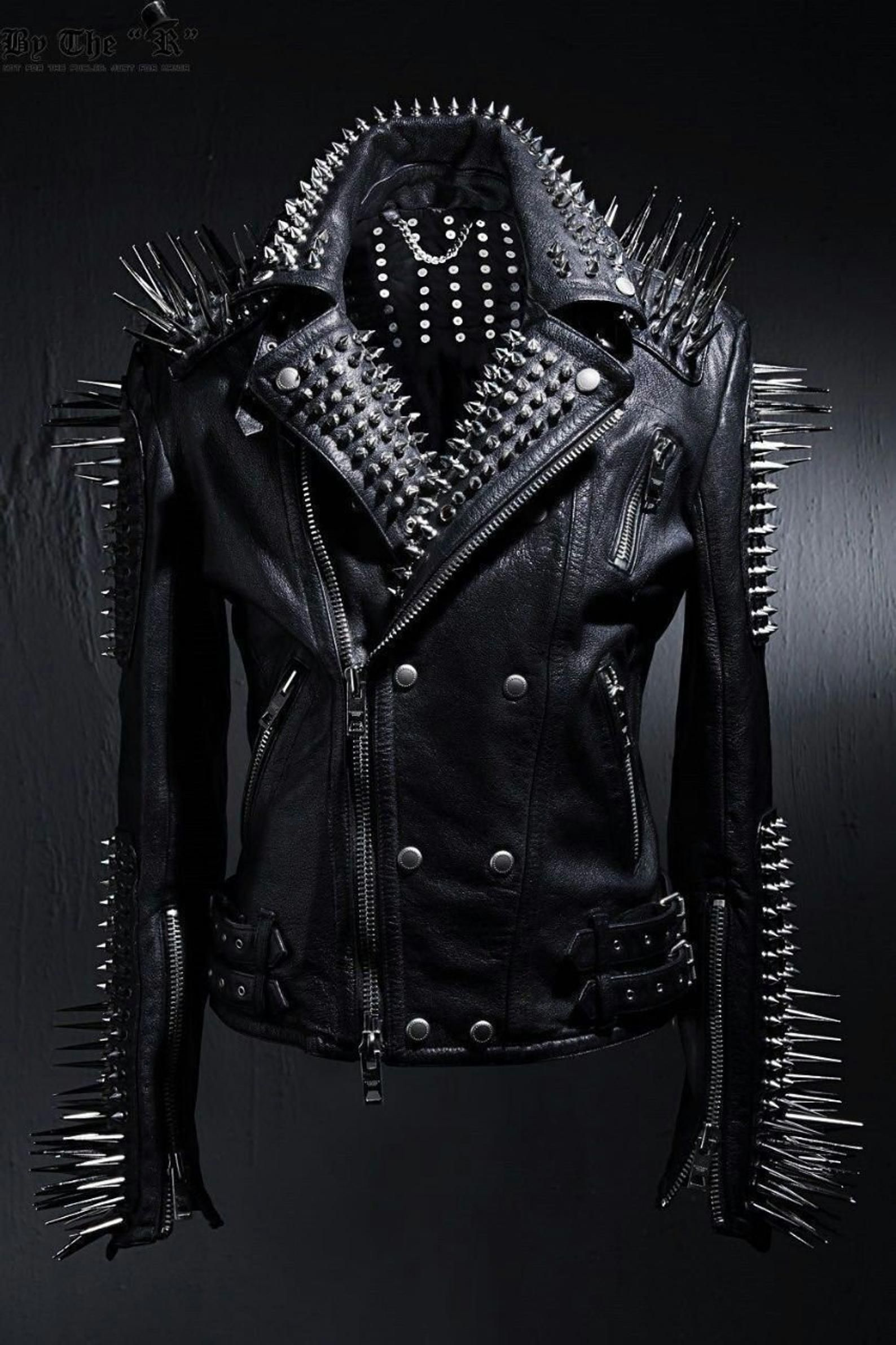 HANDMADE Mens Full Black Punk Silver Long Spiked Studded