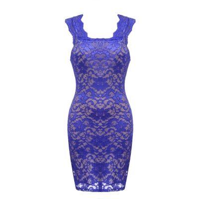 Blue Stylish Ladies Career Lace Dress | cndirect.com