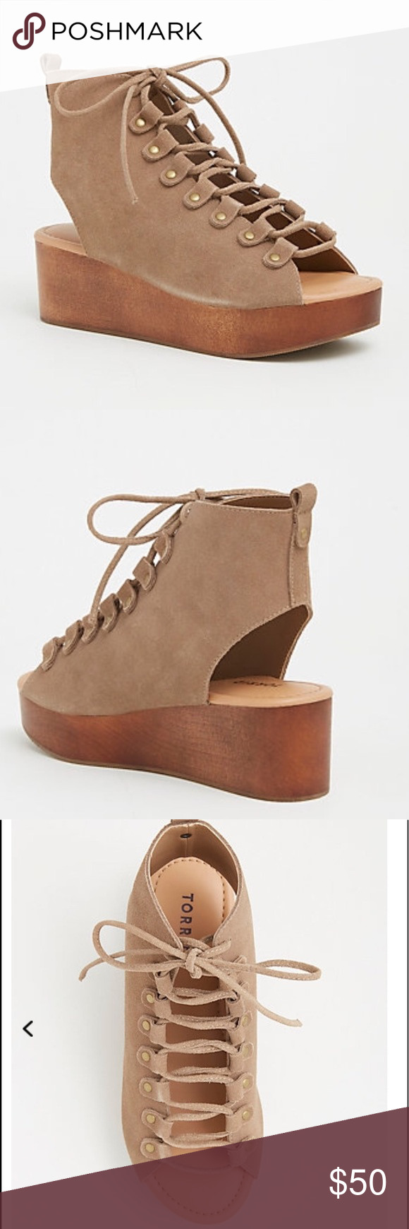 Genuine Suede Lace Up Wedges (Wide Width) Brand new without box. Never worn. torrid Shoes