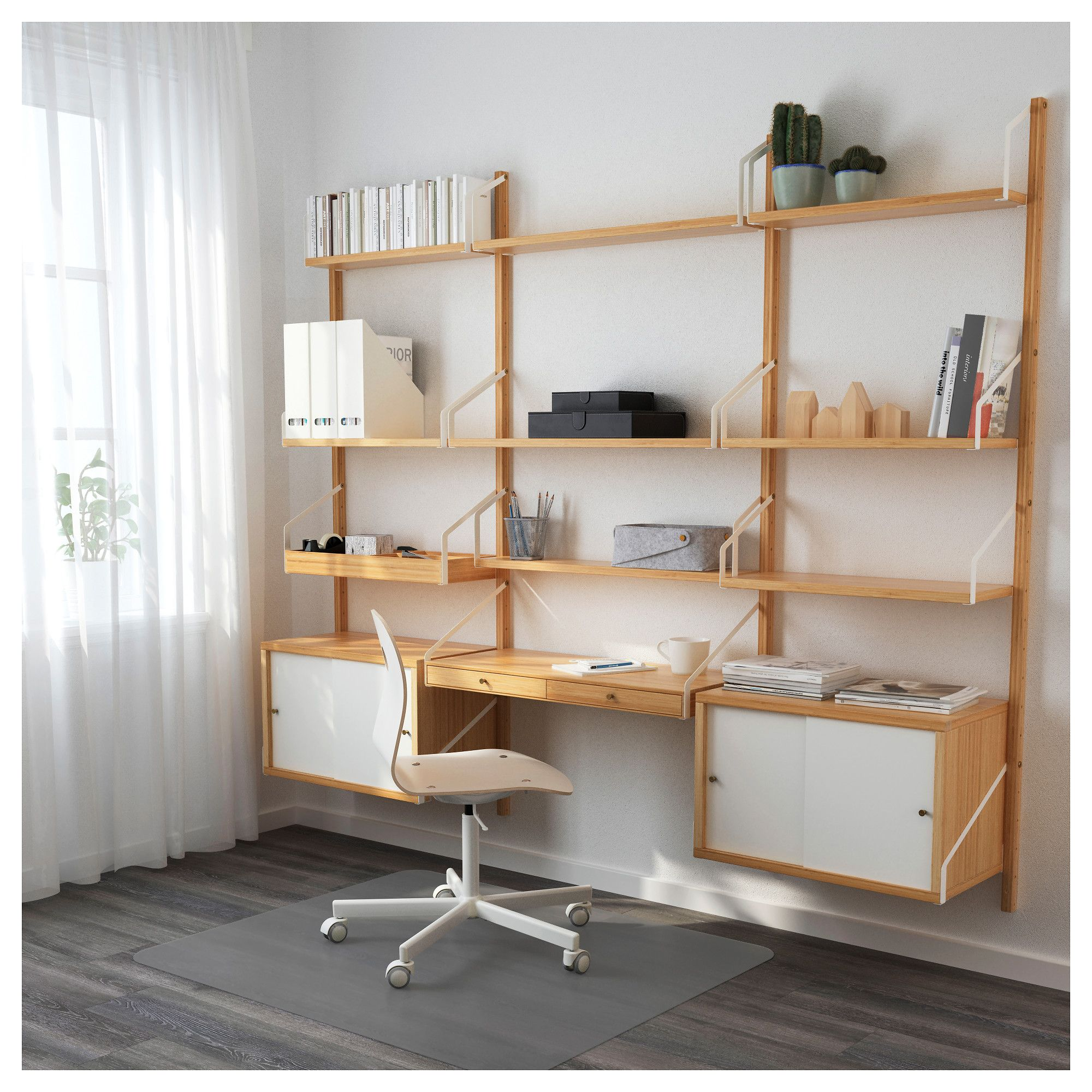 ikea svaln s wall mounted workspace combination bamboo white. Black Bedroom Furniture Sets. Home Design Ideas