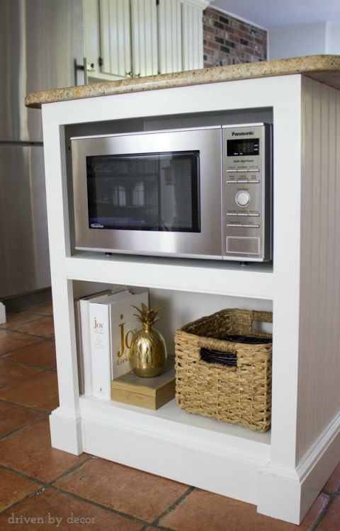 Shelves+for+microwave ,+cookbooks,+and+other+kitchen+accessories+added+to+island
