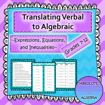 Translating Verbal to Algebraic Expressions, Equations, and ...